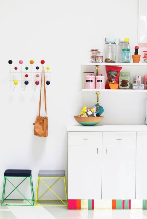 Add a bright color to your kitchen's toe kick for an instant update